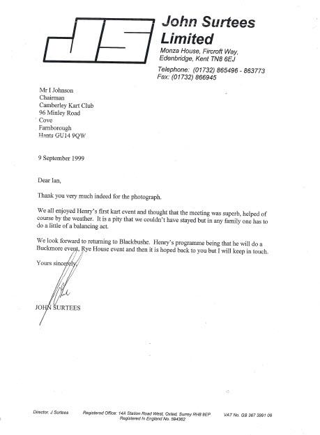 John Surtees Letter to CKC